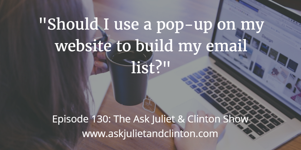 using a pop-up on your website